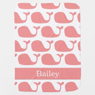 Manta rosada náutica personalizada del bebé de las mantita para bebé