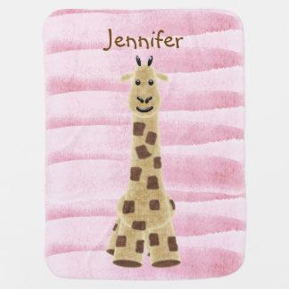 Manta rosada personalizada del bebé de la jirafa mantas de bebé