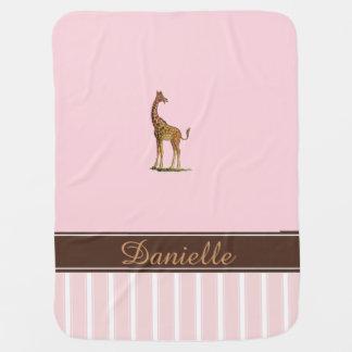 Manta rosada personalizada jirafa del bebé manta de bebé