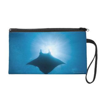 Manta swimming underwater wristlet purse