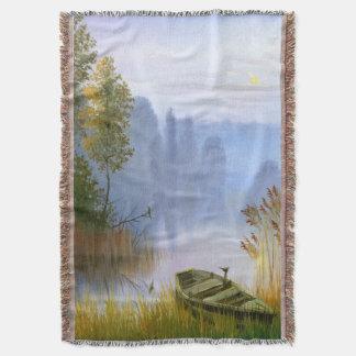 Manta tejida pintura hermosa del tiro del verano