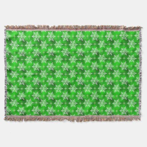 Manta verde del tiro del copo de nieve