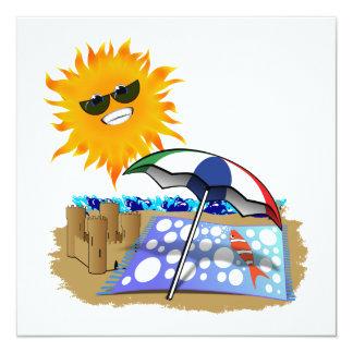 Manta y Sun de la playa Invitación 13,3 Cm X 13,3cm