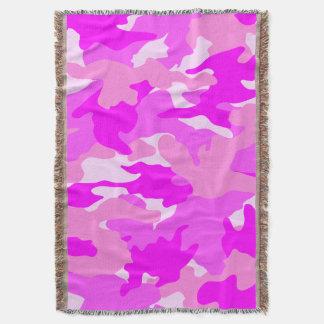 Mantas tejidas militares rosadas femeninas lindas manta