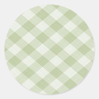 Mantel a cuadros de la guinga de la comida pegatina redonda