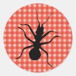 Mantel de la tela escocesa de la hormiga del bicho pegatinas redondas