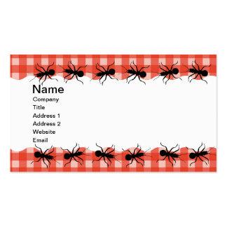 Mantel de la tela escocesa de la hormiga del bicho tarjetas de visita