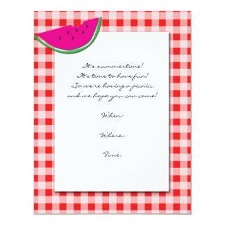 Mantel e invitación rojos y blancos de la sandía