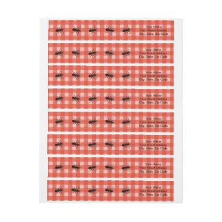 Mantel negro de la tela escocesa de la hormiga del etiquetas postales