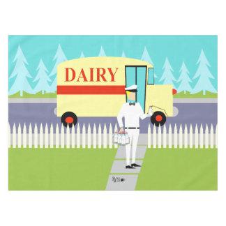 Mantel retro del lechero de la pequeña ciudad
