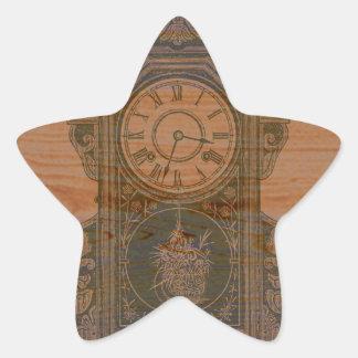 mantel wooden clock star sticker