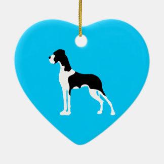 Manteldogge Boston Great Dane Adorno Navideño De Cerámica En Forma De Corazón