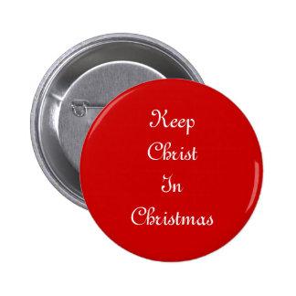 Mantenga a Cristo botón del navidad Pin