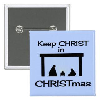 Mantenga a CRISTO el botón cuadrado/Pin del navida Pin Cuadrado
