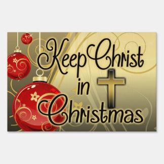 Mantenga a Cristo el navidad, rojo/yarda del Letreros