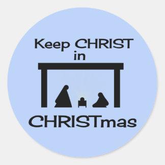 Mantenga a CRISTO los pegatinas del navidad (2 Pegatina Redonda