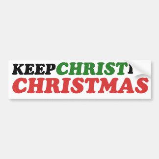 Mantenga a Cristo navidad Etiqueta De Parachoque