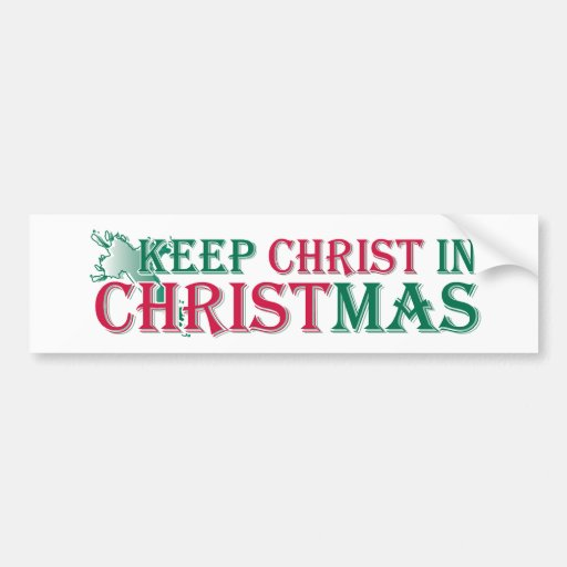 Mantenga a Cristo navidad - cruz Pegatina De Parachoque