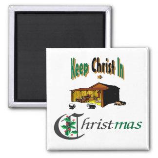 Mantenga a Cristo navidad Imán Cuadrado