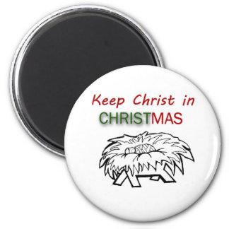 Mantenga a Cristo navidad Imán Redondo 5 Cm