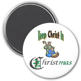 Mantenga a Cristo navidad Imán Redondo 7 Cm
