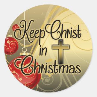 Mantenga a Cristo navidad, oro/cristiano rojo Pegatina Redonda