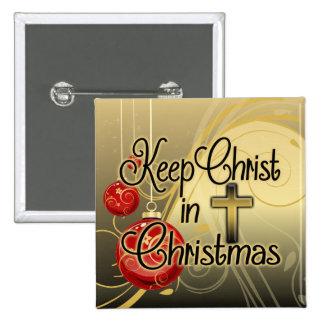 Mantenga a Cristo navidad, oro/cristiano rojo Pin Cuadrada 5 Cm