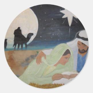 Mantenga a Cristo navidad Pegatina Redonda