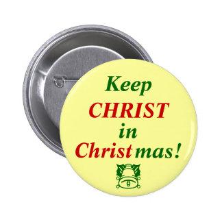 ¡Mantenga a CRISTO navidad! Pin Redondo De 2 Pulgadas