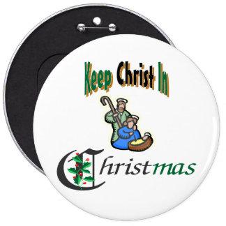 Mantenga a Cristo navidad Pin Redondo De 6 Pulgadas
