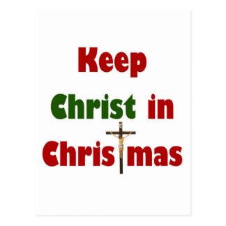 Mantenga a Cristo navidad Postal