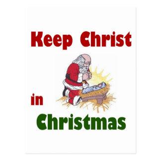 Mantenga a Cristo navidad Postales
