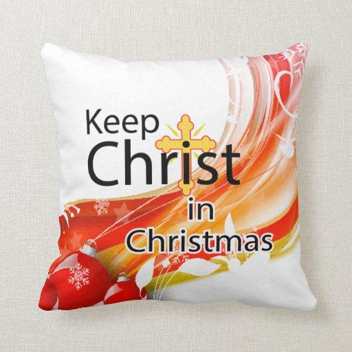 Mantenga a Cristo navidad, remolino Almohadas