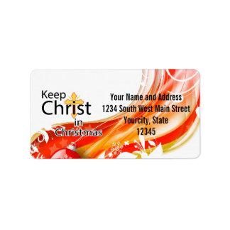 Mantenga a Cristo navidad, remolino Etiquetas De Dirección