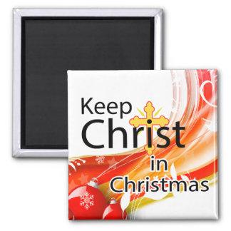Mantenga a Cristo navidad, remolino Imán Cuadrado