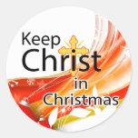 Mantenga a Cristo navidad, remolino Pegatina Redonda