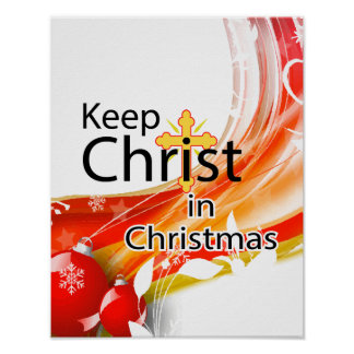 Mantenga a Cristo navidad remolino Posters