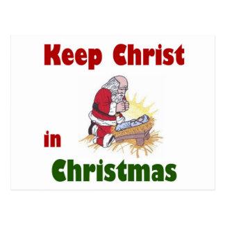 Mantenga a Cristo navidad Tarjeta Postal