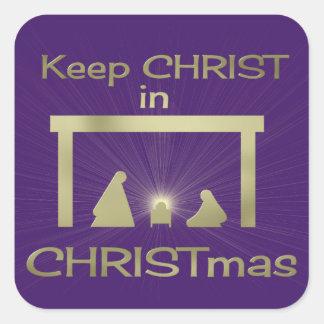 Mantenga a Cristo pegatinas cuadrados coloridos Pegatina Cuadrada