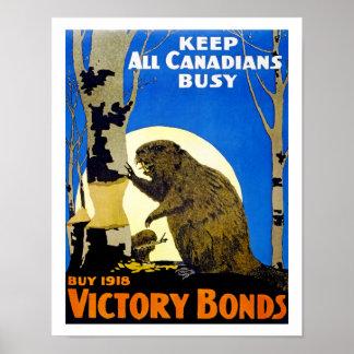 Mantenga a todos los canadienses ocupados póster