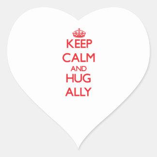 Mantenga aliado tranquilo y del abrazo pegatina en forma de corazón