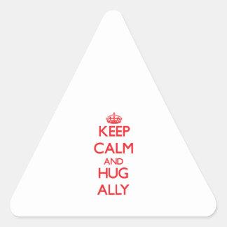 Mantenga aliado tranquilo y del abrazo pegatina triangular
