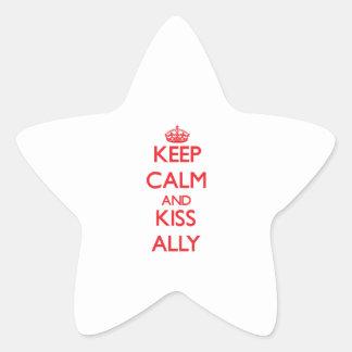 Mantenga aliado tranquilo y del beso pegatina en forma de estrella