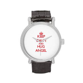 Mantenga ángel tranquilo y del abrazo relojes de mano