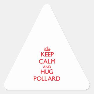 Mantenga árbol descopado tranquilo y del abrazo calcomania de triangulo