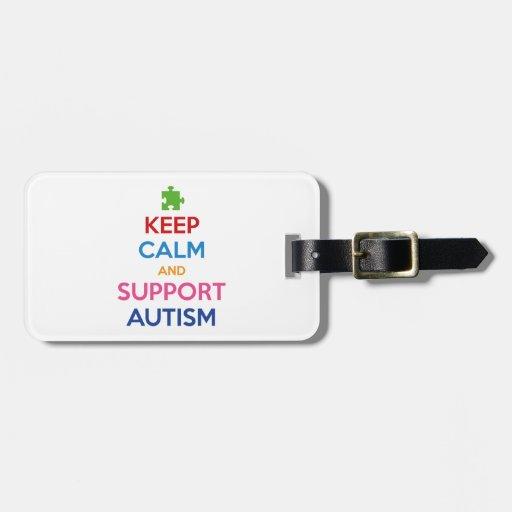 Mantenga autismo tranquilo y de la ayuda etiquetas de maletas
