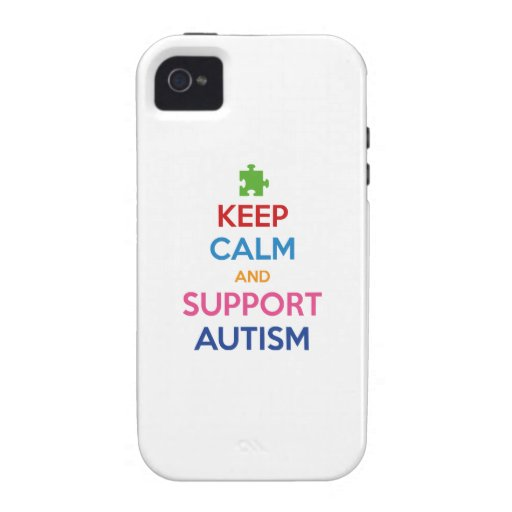 Mantenga autismo tranquilo y de la ayuda iPhone 4 funda