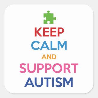 Mantenga autismo tranquilo y de la ayuda calcomanías cuadradass