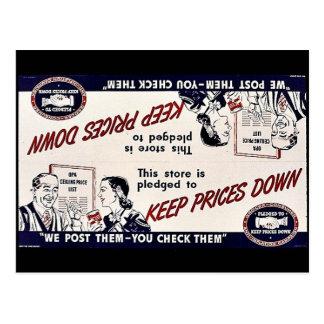 Mantenga bajos los precios tarjetas postales