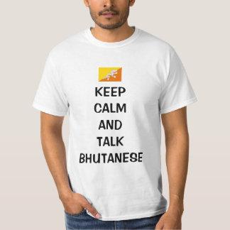 Mantenga Bhutanese tranquilo y de la charla Remera